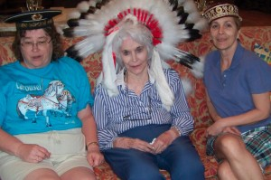 Jean Bennett, Marianne, and Vicki Vanden Bout have some fun with hats during their 2010 visit to see Marianne.
