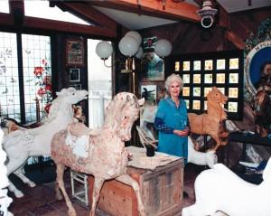 Marianne Stevens in her Roswell, NM, carousel figure restoration studio.