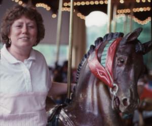 Nancy with a Rocky Springs Dentzel stander.