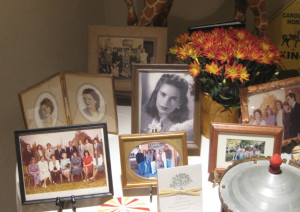 A table of photos at the memorial service showing Marianne through the years. What a beautiful woman.