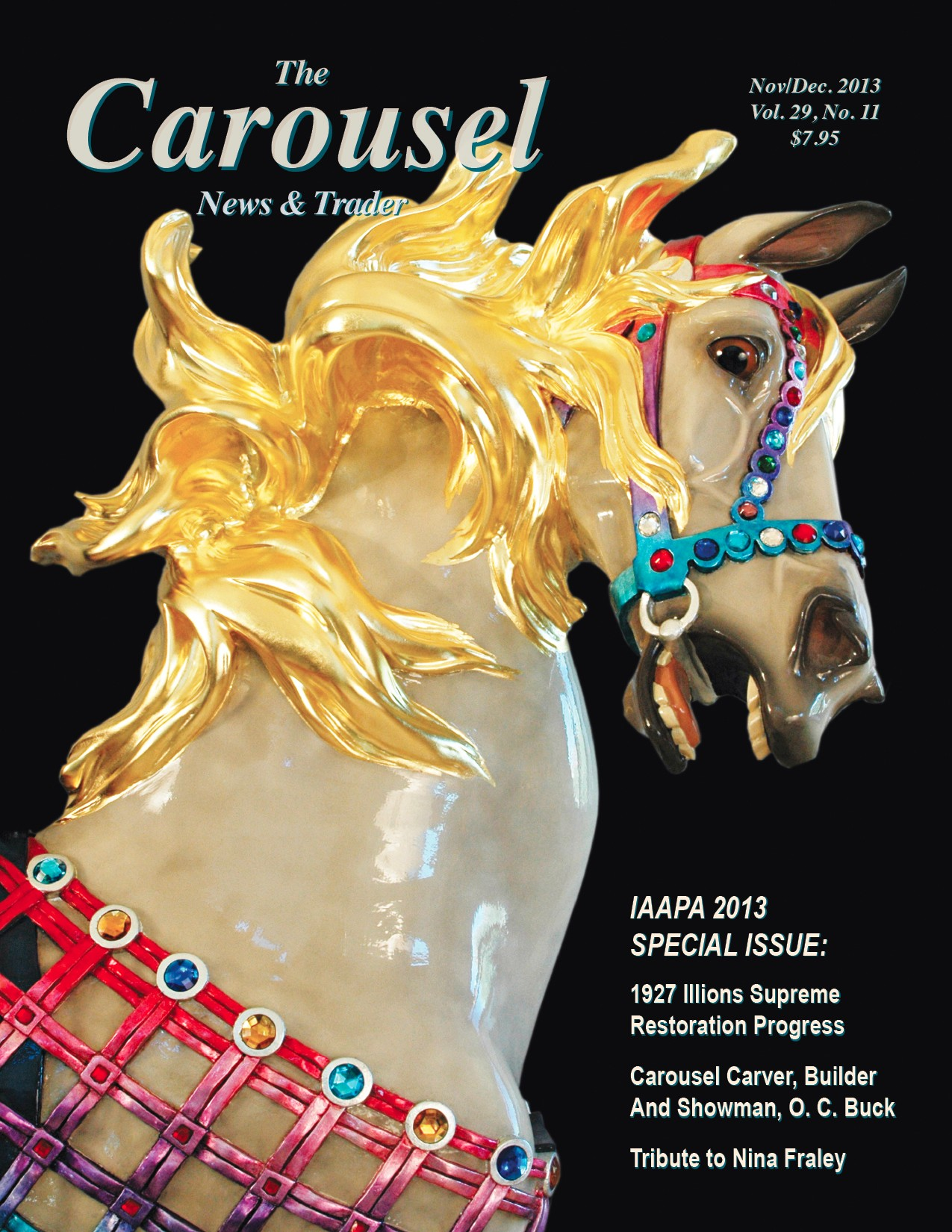 Carousel-news-cover-11-12-Restored-Illions-Supreme-carousel-horse-Nov-Dec-2013