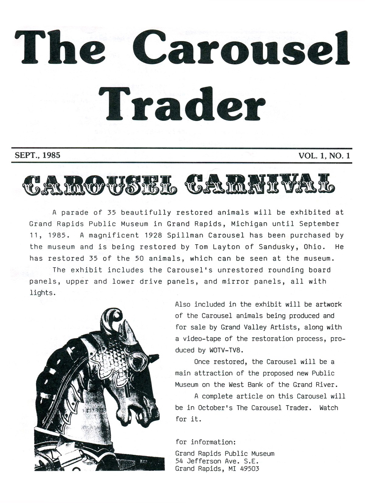 Carousel-news-cover-v1n1-first-issue-Grand-Rapids-Spillman-carousel-horse-Sep-85
