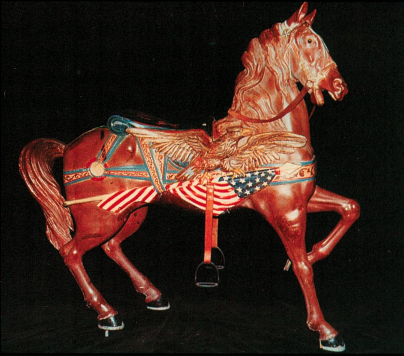 Dentzel-flag-horse-Hurbut-carousel-auction