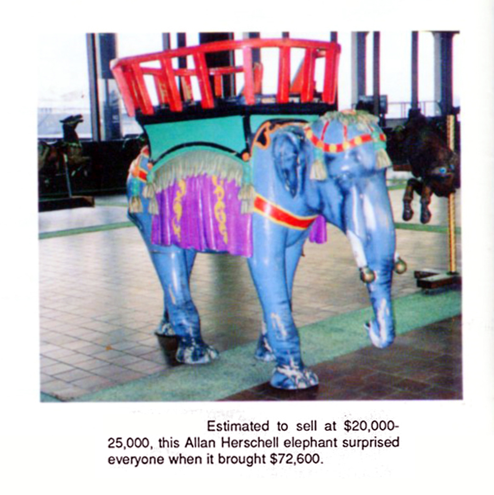 Allan-Herschell-carousel-elephant-72.6-thousand-Dec-88-Gurnseys-auction