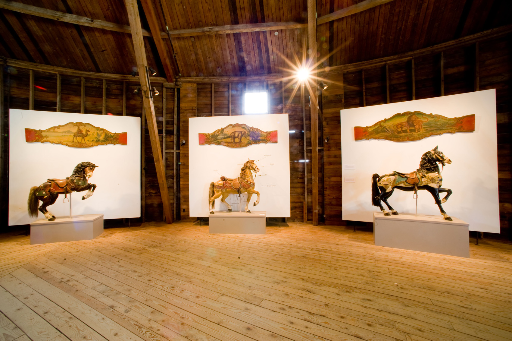 Shelburne-Museum-VT-historic-Dentzel-carousel-horses-rounding-boards