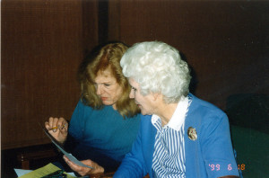 Jo Summit with Marianne Stevens at Asilomar in 1999.