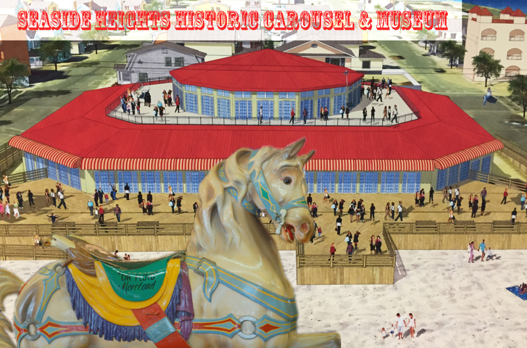 Rendering of beachfront area around the carousel and proposed museum for Seaside Heights if land swap between the borough and Casino Pier owners is approved. Casino Pier would receive 1.3 acres of beach on the north side of the pier in need of development; Seaside would receive the historic carousel and beachfront land for the building to house it and a new museum, creating a great new family attraction.