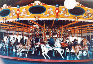 The carousel, all horses, where it was dubbed, The Teddy Roosevelt Carousel, at President's Park, Carlsbad, NM.