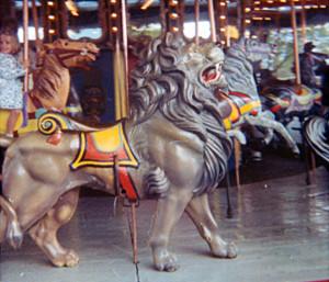 A ferocious lion on the Dentzel carousel while at Hemisfair in TX.