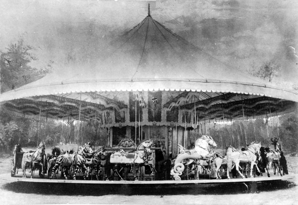 The D. C. Muller Carousel is actually a factory photo with the background airbrushed in. Some of the outstanding Muller figures shown here were found on the Pen Mar carousel in Alaska. Others found their way to the outside row of the Astroland Dentzel-Muller carousel.
