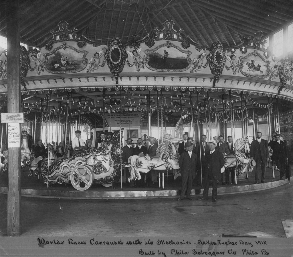 West Haven would not want the original 4-row PTC #21 carousel back even if they could get it. Most if not all of the original wooden horses have been replaced with fiberglass replicas. Savin Rock's new historic PTC carousel would be all wood and all original, restored to its original ca. 1920 glory. Photo courtesy of Tom Rebbie and the PTC Archives.