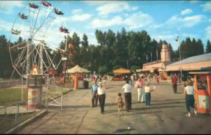 Playland Pier midway, ca. 1950s.