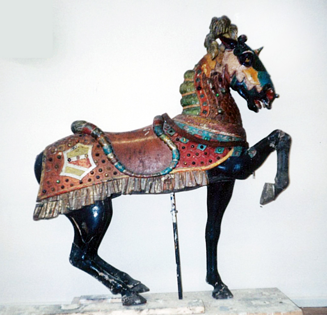 Unrestored-Herschell-Spillman-armored-carousel-horse