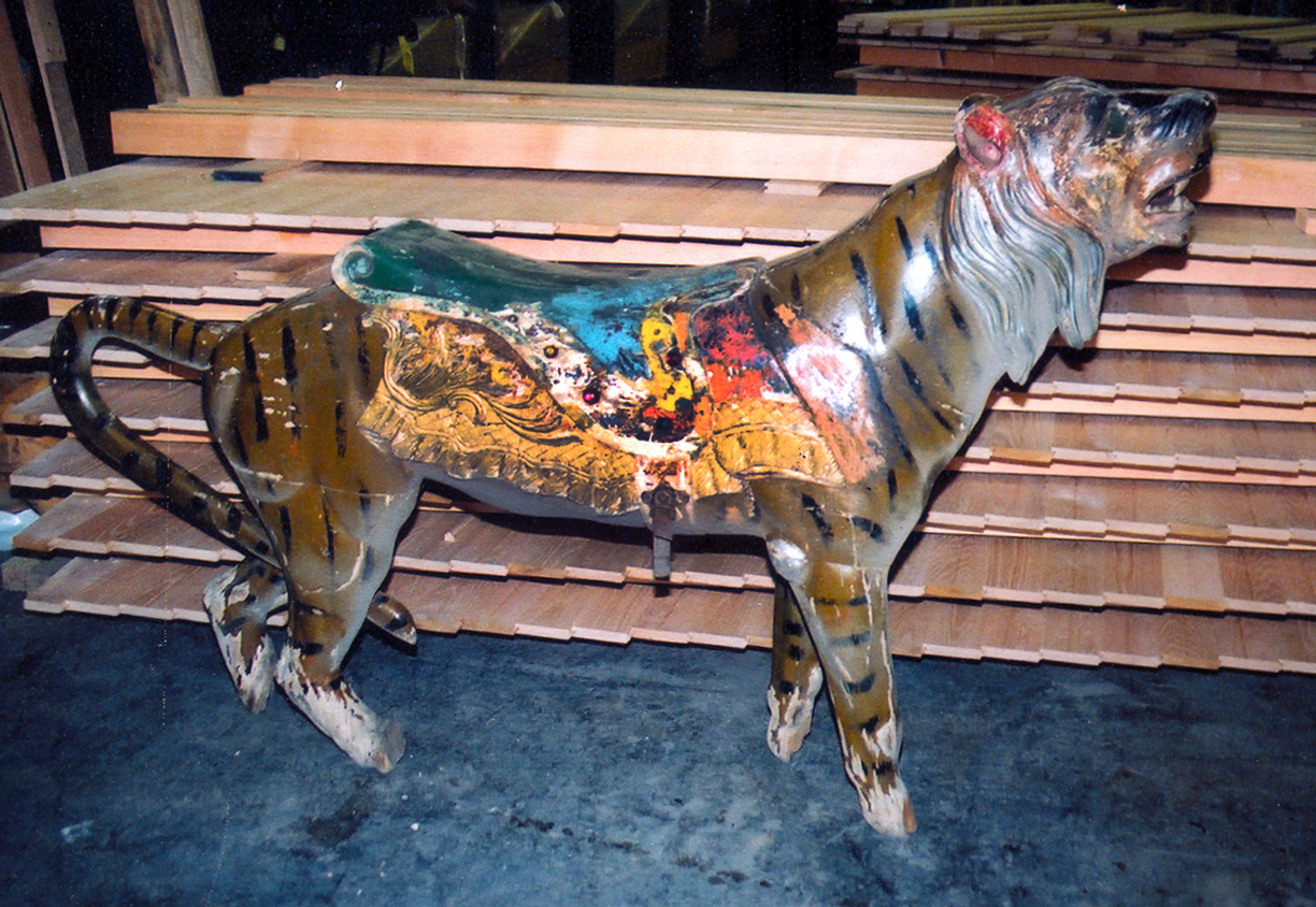 Unrestored-Herschell-Spillman-carousel-tiger