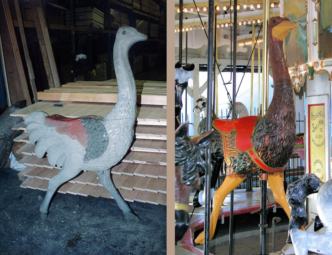 unrestored-ostrich-Oaks-Park-carousel-ostrich