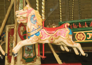 Horses, gallopers, carved by Anderson.