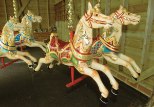 Restored Anderson gallopers from the inside of the ride.
