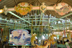 "The 1905 Ontario Beach Dentzel carousel in Rochester, NY. ""Offensive"" art panel inset."