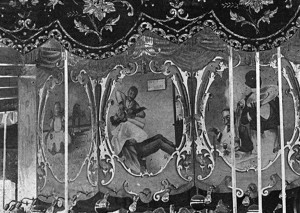 "The white gentleman gets a ""too close"" shave in this carousel art panel, considered every day humor in 1900."