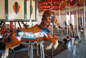 The 1928 Allan Herschell carousel at Olcott Beach Park replaces a larger historic carousel that once operated in the roundhouse.