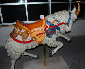 New carved Ed Roth goat for Pottstown. Click for the Pottstown carousel photo gallery.