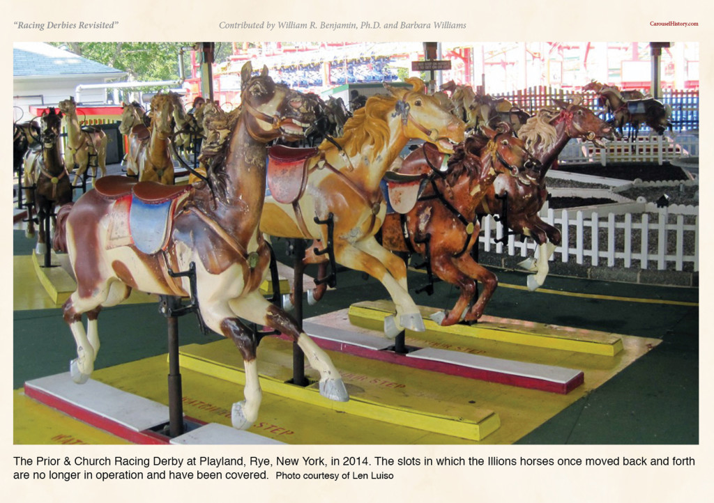 The Prior & Church Racing Derby at Playland, Rye, New York, in 2014.  The slots in which the Illions horses once moved back and forth are no longer in operation and have been covered.  Photo courtesy of Len Luiso