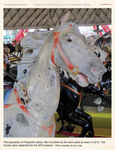 The popularity of Playland's derby ride is evident by the worn paint as seen in 2014. The horses were repainted for the 2015 season. Photo courtesy of Len Luiso