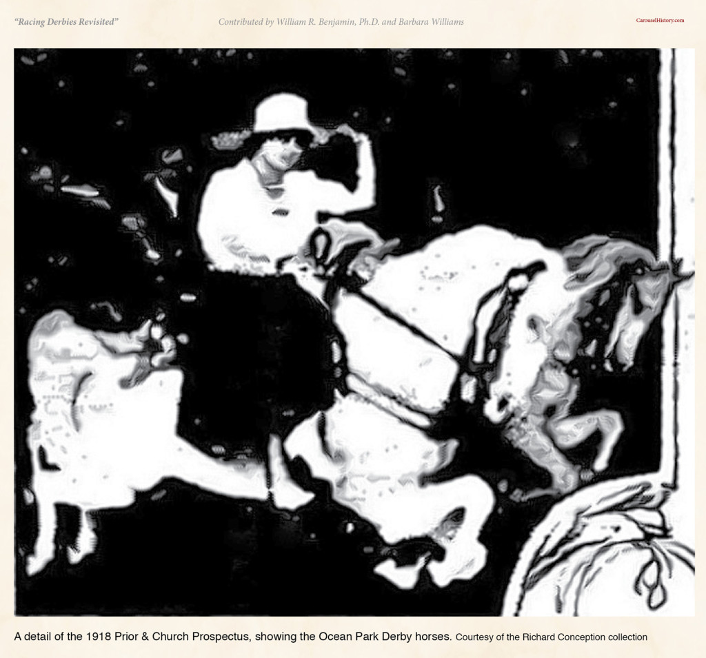A detail of the 1918 Prior & Church Prospectus, showing the Ocean Park Derby horses. Courtesy of the Richard Conception collection
