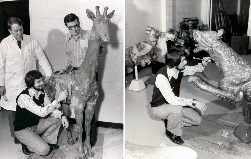 DEARBORN, MI. - PHOTO LEFT - Carl Wesenberg (left), Tony Orlando (kneeling), and Charles Wells (right), of the Conservation Lab, Greenfield Village and Henry Ford Museum. They are in the process of removing over-paint layers to reveal color and design of the decorative saddle on a giraffe during restoration of the Village's carousel. PHOTO RIGHT - Tony Orlando, in the Conservation Lab in Dearborn, removes over-paint from a sea dragon during the ongoing restoration of the Village's antique Herschell-Spillman menagerie carousel. Examination found that the original treatment had silver leaf applied to the body over which a transparent coating was used to simulate the appearance of glistening water on the mythical sea beast. Archival Museum PR photos from the collection of Lourinda Bray