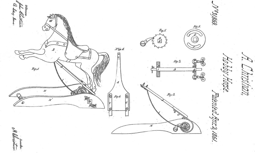 Andrew Christian's Improved Rocking Horse patent No. 31,869 dated April, 2, 1861
