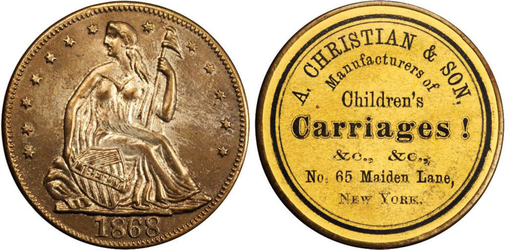 1868 Andrew Christian & Son advertising coin. From an auction catalog.