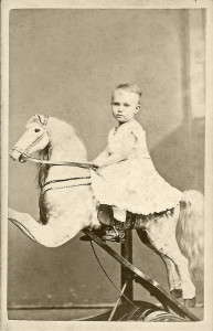 1870's CDV printed by Suppards and Fennemore, No. 820 Arch Street, Philadelphia of a high end calfskin-covered Christian improved spring rocking horse. William Benjamin collection.