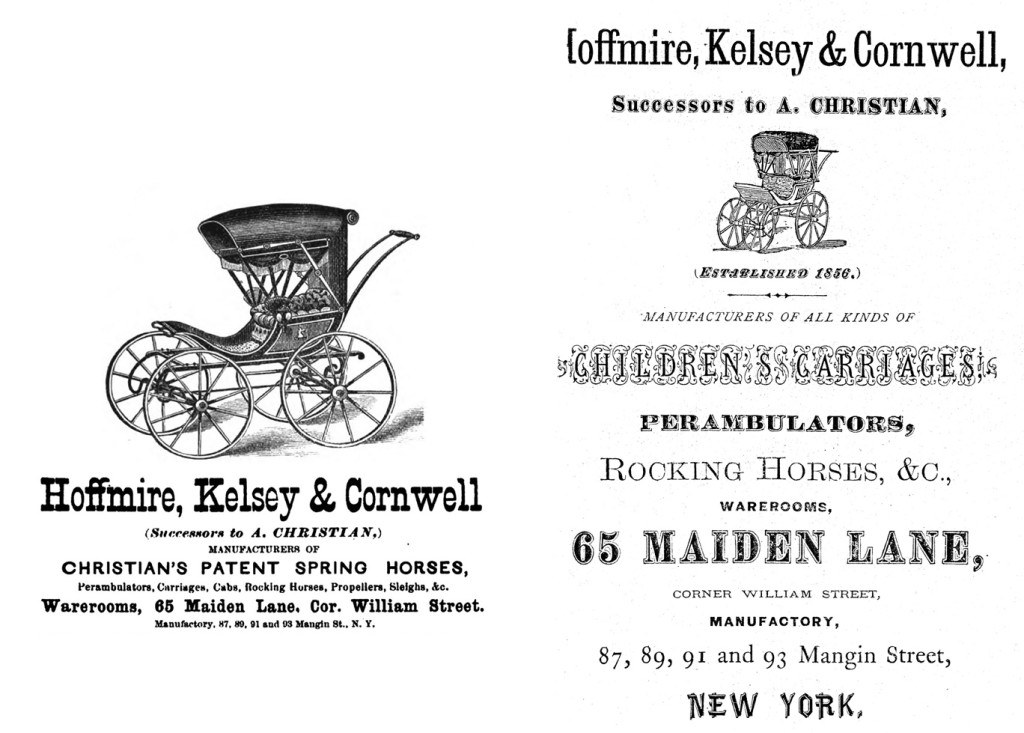 Left. Hoffmire, Kelsey & Cornwell took over management of Andrew Christian's firm following his death in 1871. From April 2-9, 1873 Minutes of the Twenty Fifth Session of the New York East Annual Conference of the Methodist Episcopal Church. Right. Advertisement from the Fred and Mary Fried Archive, Smithsonian Institution.