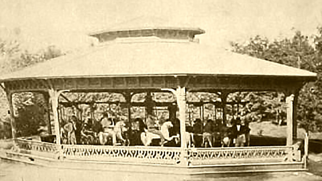 Early stereo view image of the Central Park Carousel by Aaron Veeder, Albany, New York with horses that have the signature elevated Christian foreleg angle. A modified image from WorthPoint.