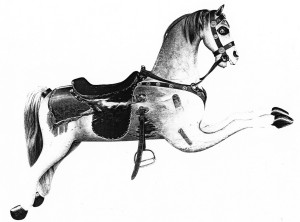 "Watch Hill, Westerly, Rhode Island horse.   Note the almost identical form of the carvings. A consistent characteristic of these figures is that the angle of the forelegs projects horizontally above the line defined by the bottom of the belly (""Christian foreleg angle"").  Fred and Mary Fried Archive, American History Museum, Smithsonian"