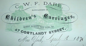 C.W.F. Dare letterhead dated April 16, 1874. From Ancestry.com
