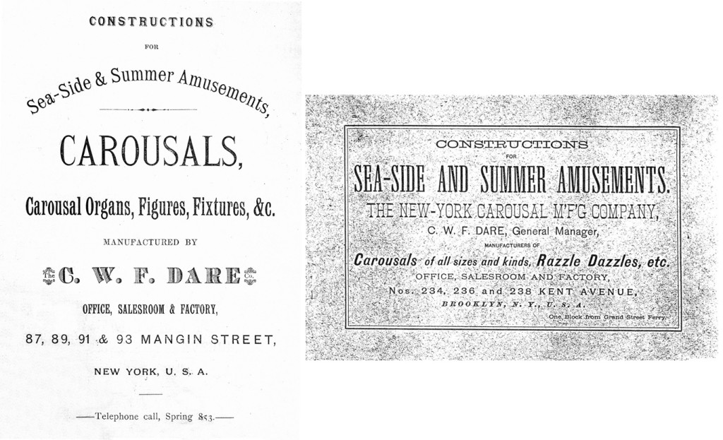 Left. The C.W.F. Dare Company catalog cover, circa 1884. Right. The cover of Dare's circa 1890 The New-York Carousal M'F'G Company catalog. Fred and Mary Fried Archive, American History Museum, Smithsonian