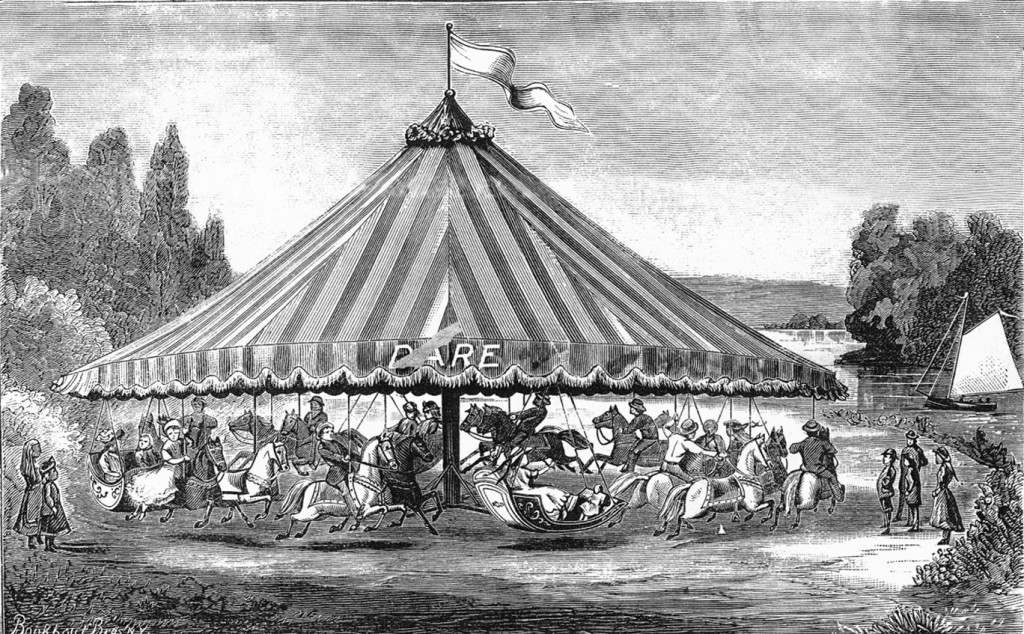 Image of Swinging Carousel with No Platform from the circa 1884 catalog by The C.W.F. Dare Company. Fred and Mary Fried Archive, American History Museum, Smithsonian