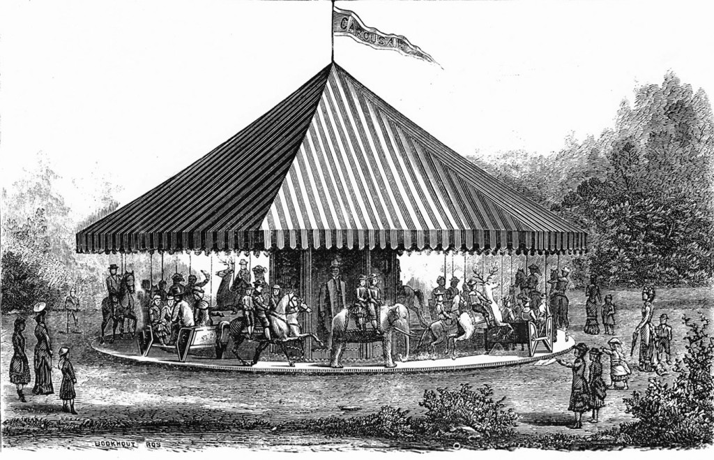 Image of Carousel with a Swinging Platform from the circa 1884 catalog by The C.W.F. Dare Company. Fred and Mary Fried Archive, American History Museum, Smithsonian