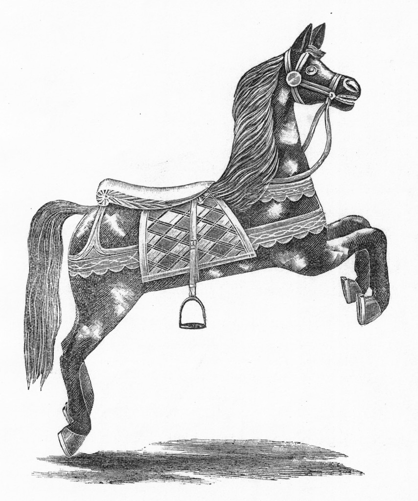 "One horse style depicted in the circa 1884 Dare catalog. There are missing pages in the catalog which may have had illustrations of the Oak Bluff's style of horse. ""Brass and looking-glass ornaments or jewels added if desired."" Fred and Mary Fried Archive, American History Museum, Smithsonian"