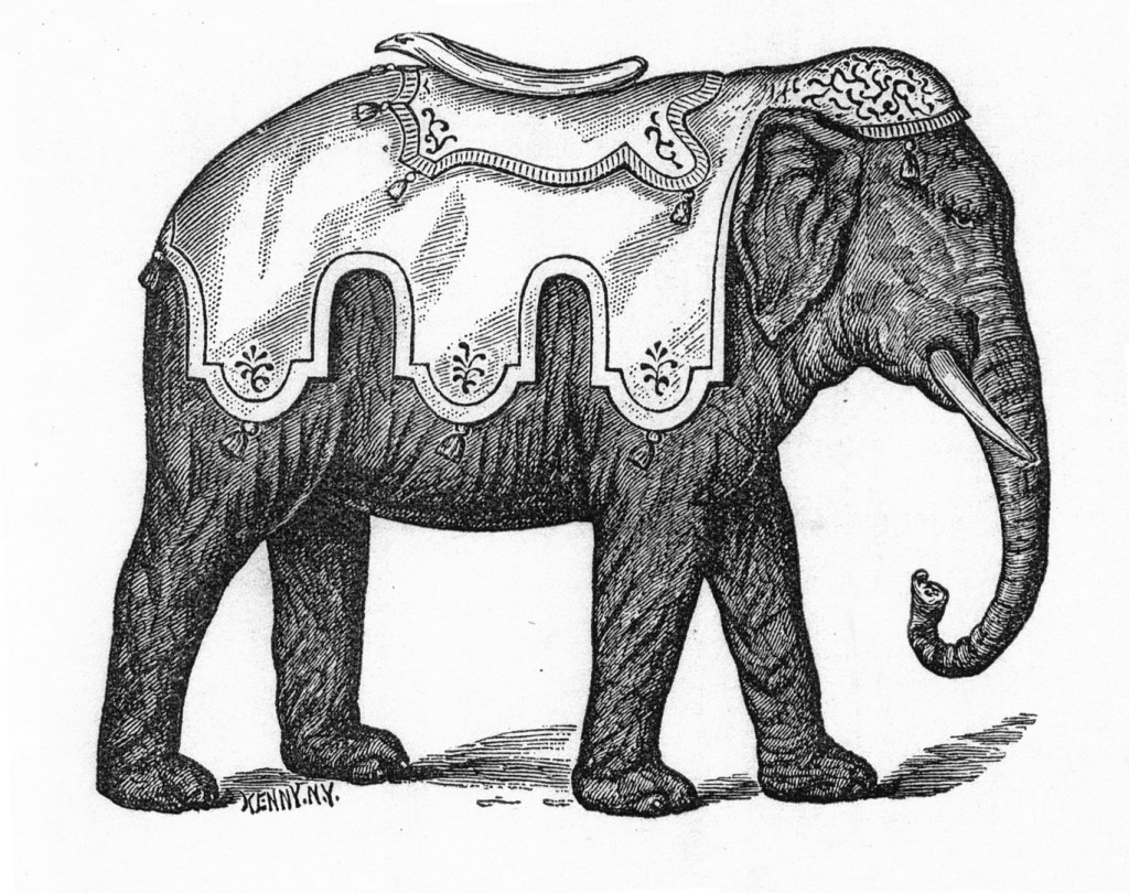 "Illustration from the circa 1884 catalog by The C.W.F. Dare Company showing a 14"" elephant. Fred and Mary Fried Archive, American History Museum, Smithsonian"