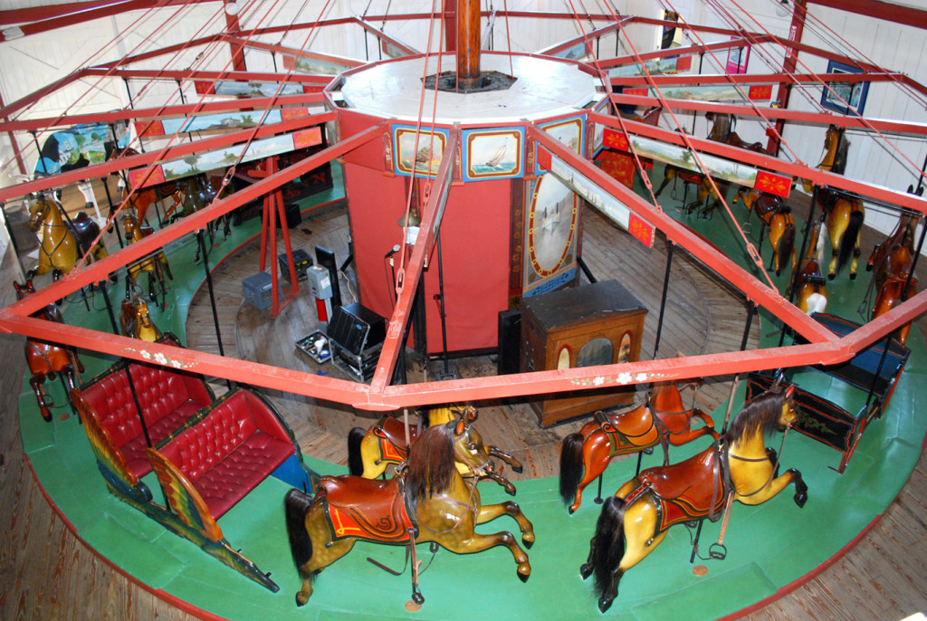 Overhead view of the Oak Bluffs carousel showing the simple frame. Photo courtesy of Roland Hopkins