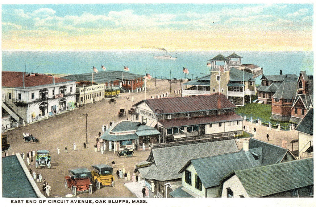 The Oak Bluffs Flying Horses carousel, center, brown roof, circa 1915. Barbara Williams collection