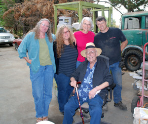 Artists Pam Hessey, Lise Liepman and Rosa Patton with Dan and John Daniel at Dan's shop with the Illions Supreme.