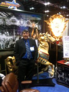 Dan with an Illions Supreme horse in our IAAPA booth in Las Vegas, 2009.