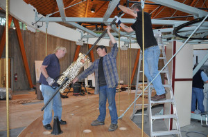 Steve, Dan and Scott installing the carousel at Butchart Gardens.