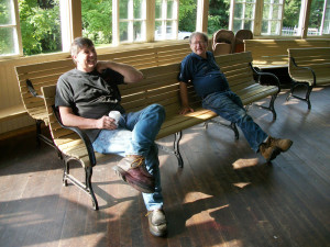 Dan and Ed take a break on a hot summer day working on the Crescent Park carousel in RI.