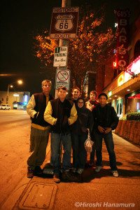 "Scott, Dan ""Uncle Carney"", Andy, Eric and Hiroshi on Route 66 in Hollywood."